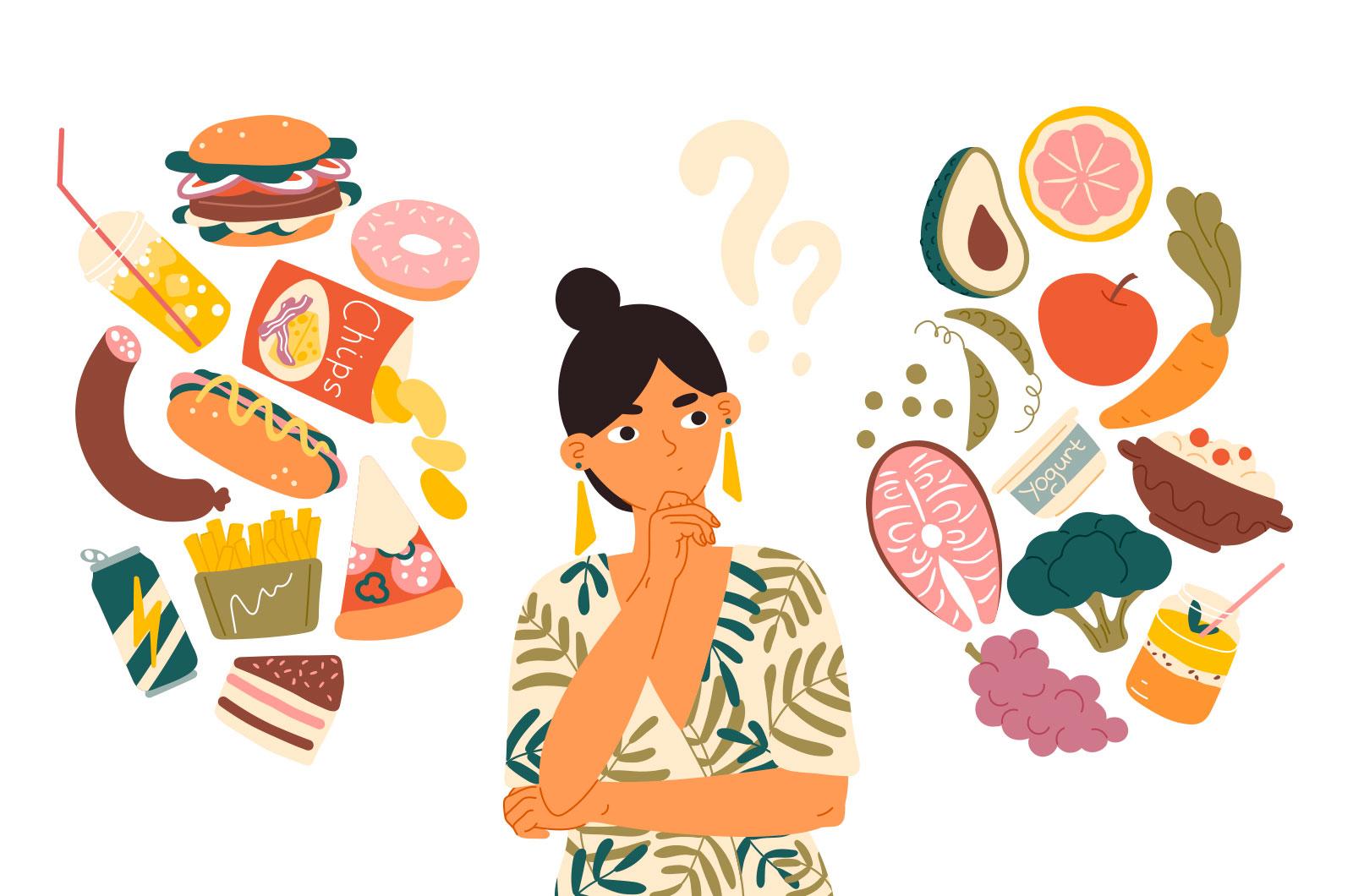 Mujer pensando en su dieta para mejorar su audición